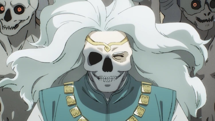 Lord Samuel, un fantasma sonriente con rostro esquelético y cabello largo y blanco, saluda a los posibles ocupantes de la Tierra de los Muertos en una escena del anime de televisión Dragon Goes House-Hunting.