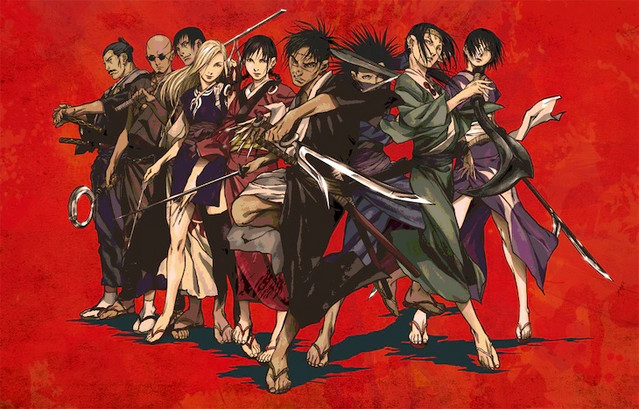 A new visual promoting the Japanese TV broadcast of Amazon's 2019 - 2020 original anime, Blade of the Immortal, featuring the main cast members striking dramatic poses.