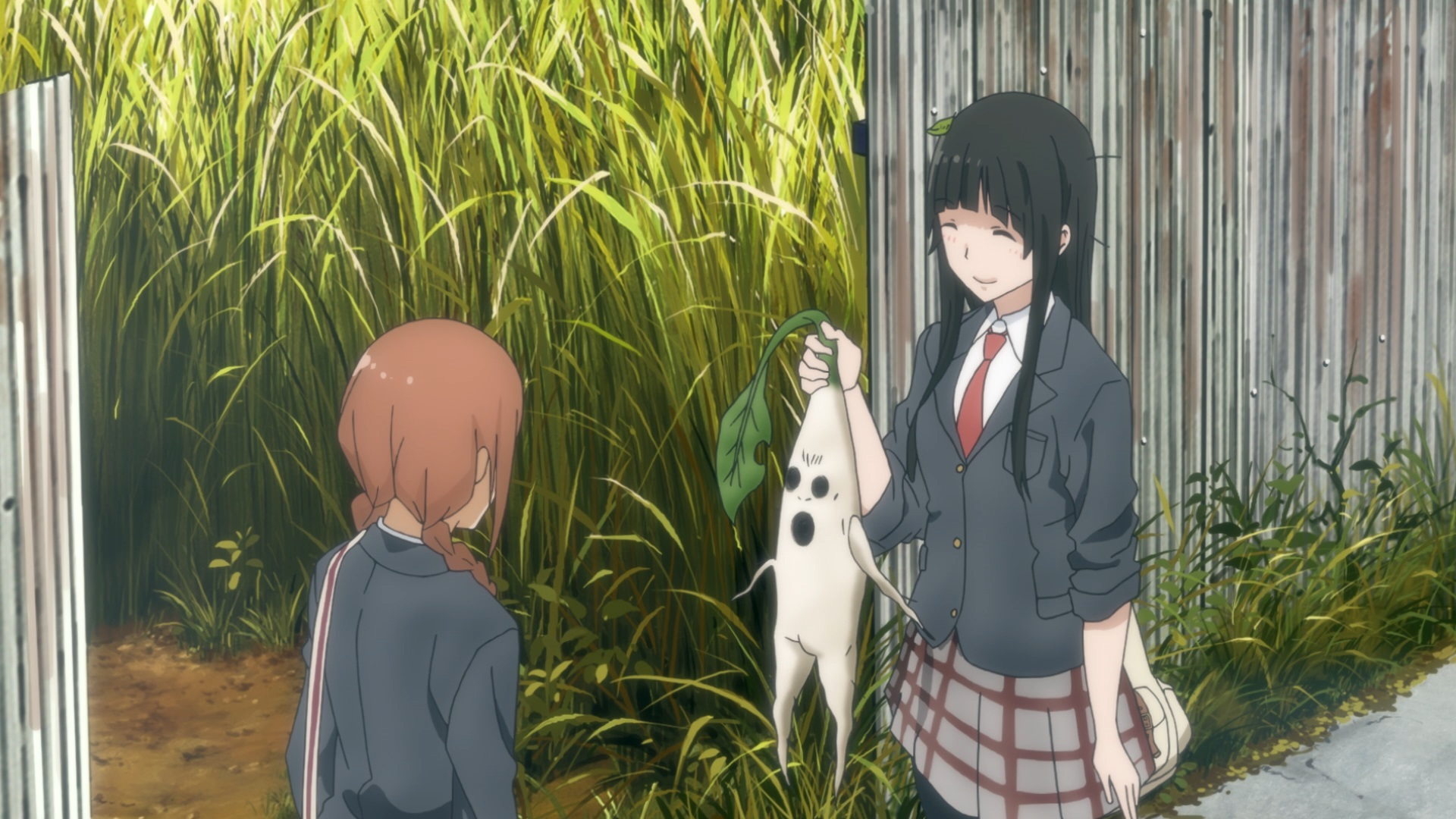Makoto Kowata offers her friend Nao Ishiwatari a hideous mandrake root in a scene from the Flying Witch TV anime.