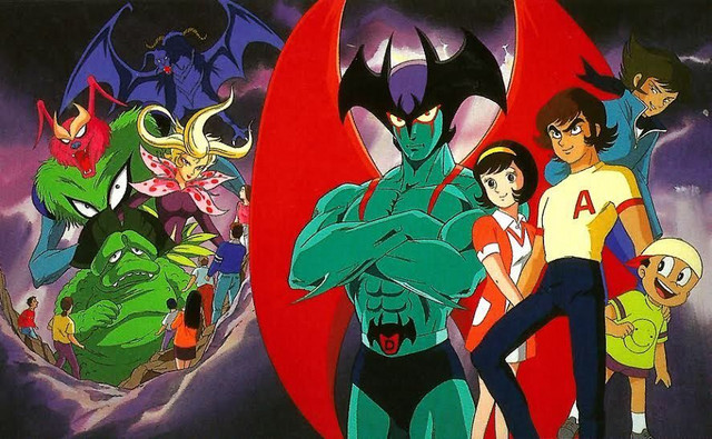 The cast of the Devilman anime - notably absent is manga linch pin Ryo Asuka