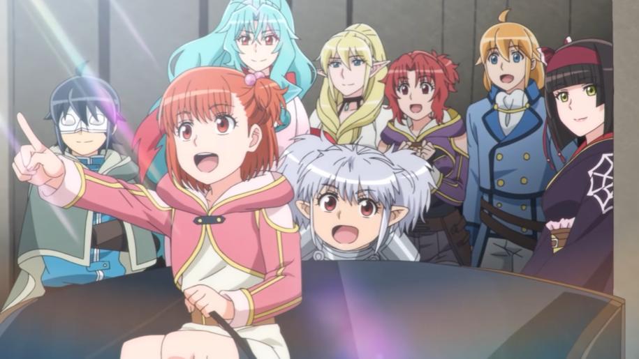 Makoto y sus muchos compañeros de aventuras viajan en un carro cubierto en una escena del anime TSUKIMICHI -Moonlit Fantasy- TV.