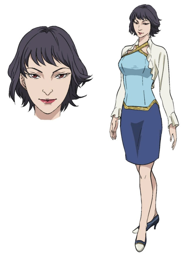 Jin, a woman with short hair who wears high heels, a blouse, and skirt in the upcoming pet TV anime.