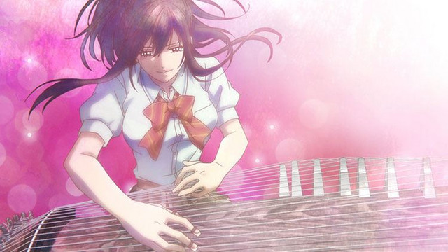 Satowa Hozuki delivers a passionate koto performance in a screen capture from Episode 13 of the Kono Oto Tomare!: Sounds of Life TV anime.