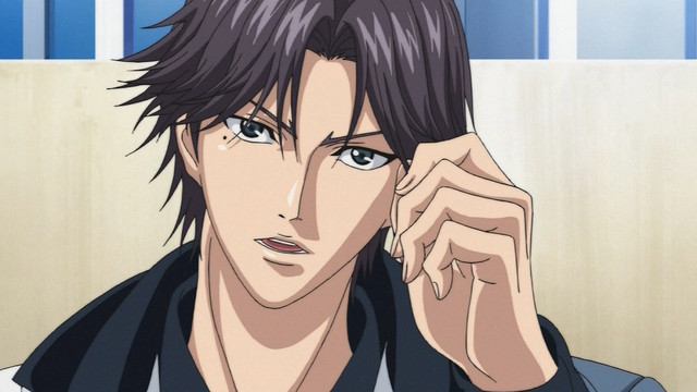 Keigo Atobe tugs at his bangs in a scene from The Prince of Tennis TV anime.