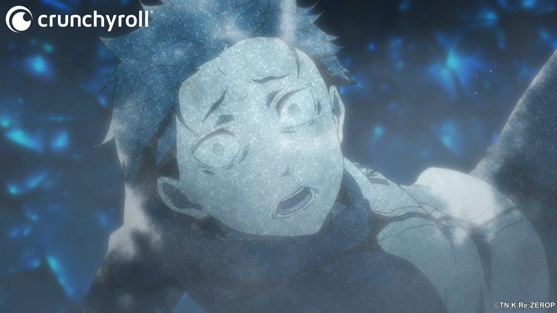 Natsuki Subaru is frozen solid by an unseen force in a scene from the Re:ZERO -Starting Life in Another World- TV anime.