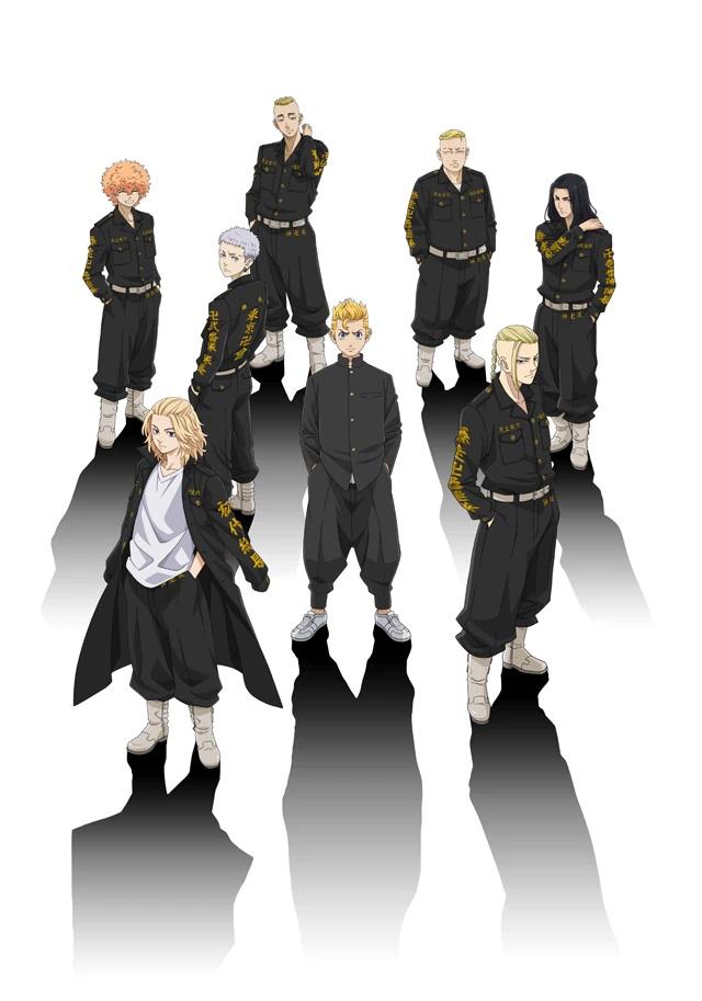 Una nueva imagen clave para el próximo anime de televisión Tokyo Revengers, con el elenco principal vestido con sus uniformes de pandillas negros y amarillos,