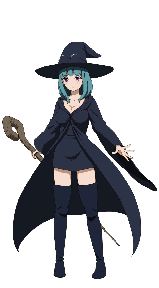 A character setting of Winny from the upcoming Peach Boy Riverside TV anime. Winny is a buxom woman with purple eyes and shoulder-length green hair, and she dresses in a floppy witch hat, cloak, a mini-skirt dress with a plunging neckline, and thigh-high stockings. All of her clothing is black, and she carries a wooden staff with a curly crook at the head.