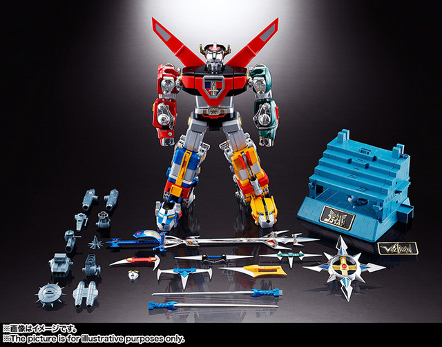 The Soul of Chogokin GX-71 Voltron toy displayed with its numerous weapons and accessories.