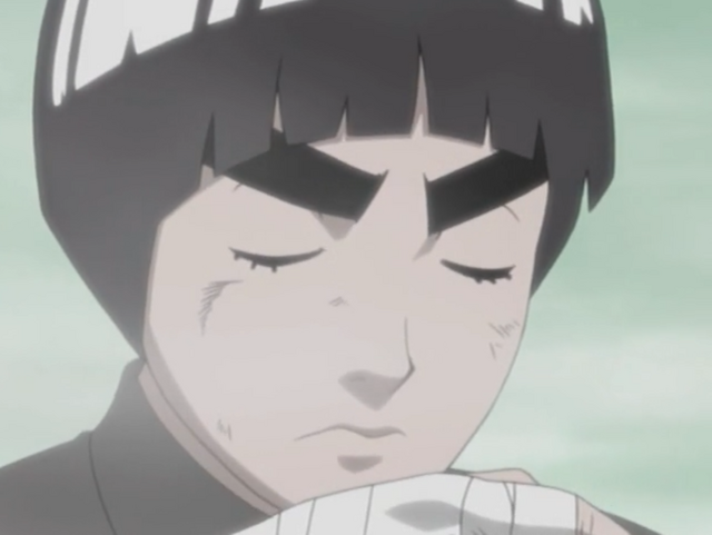 Rock Lee's training is so great that his body still fights even when he is knocked unconscious.