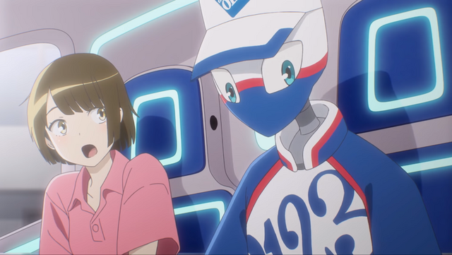 """Izumi hitches a ride aboard a futuristic moving van along with a friendly robot in a scene from Art Corporation's """"Move to the Future"""" animated promo video."""