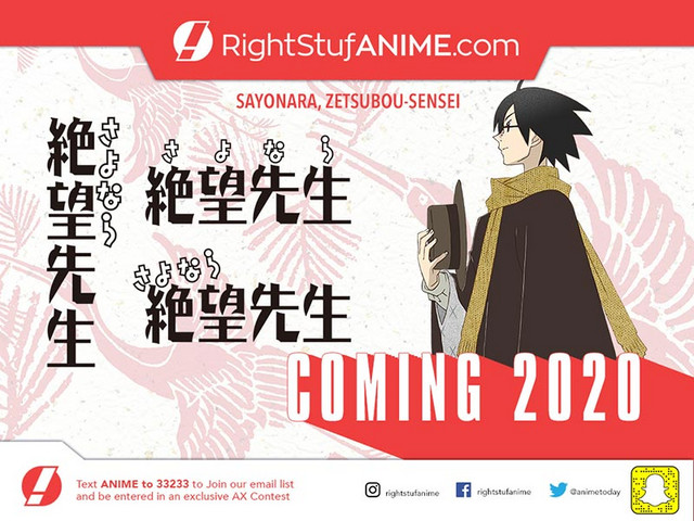 An advertisement for RightStuf's upcoming 2020 home video release of Sayonara, Zetsubou-Sensei.