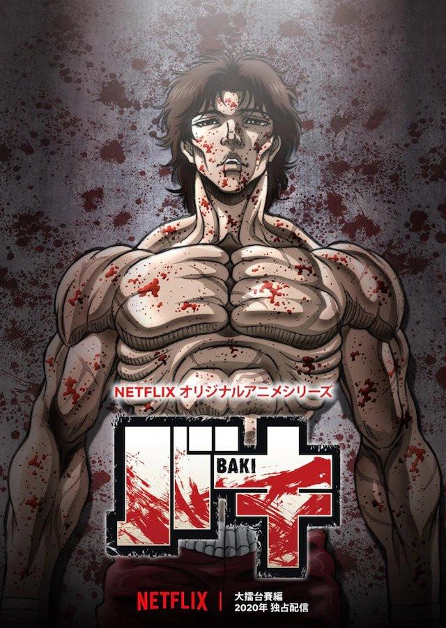 A blood-soaked Baki poses for the key visual of the second season of the Baki Netflix original anime.