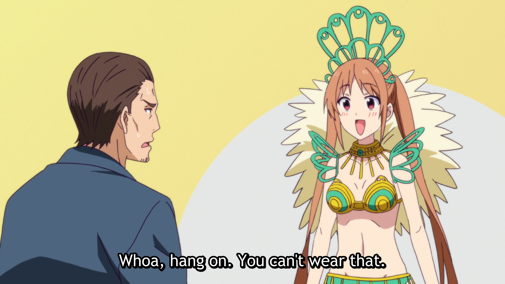 Yoshiko attempts to participate in the Bon festival dance while wearing a scandalous show-girl outfit in a scene from the 2017 TV anime, AHO-GIRL.