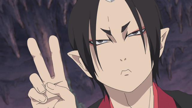 Hozuki, an oni and the chief administrative assistant to King Enma of Japanese Hell, flashes a peace sign with a sour expression on his face in a scene from the Hozuki's Coolheadedness 2 TV anime.