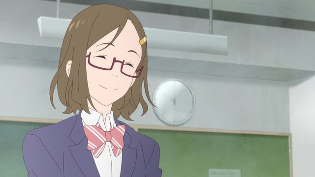 A screen capture from the Fragtime OAV featuring Yukari Kobayashi, a smiling high school girl with brown hair and glasses.