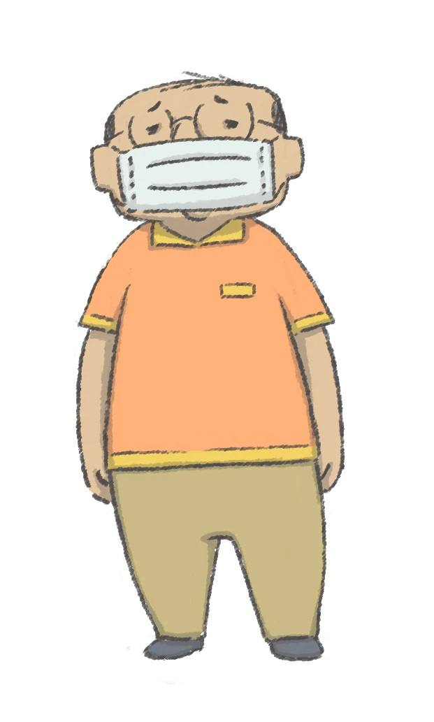 A character setting of Tencho, a short, chubby, bespectacled, balding store manager from the upcoming Soredake ga Neck TV anime.