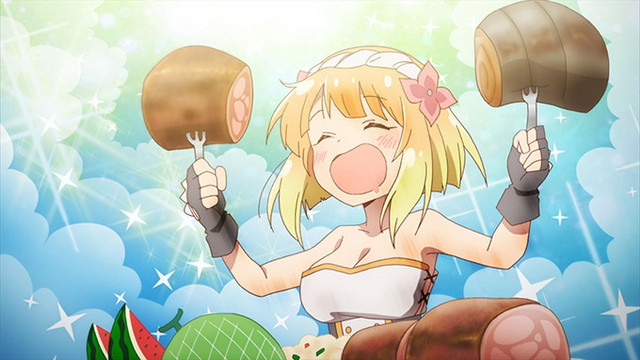 Fai dual-wields two huge chunks of meat while feasting in a scene from the ENDRO! TV anime.