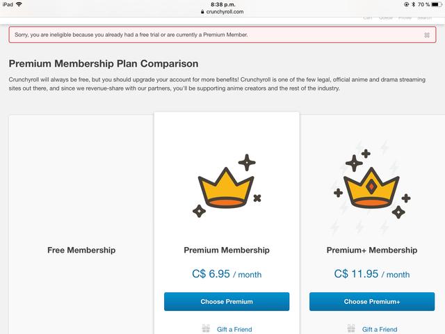 Crunchyroll Forum I Can T Buy Premium