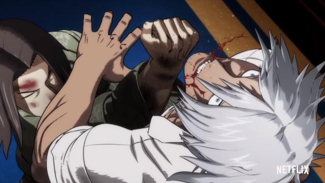 Two fighters pummel each other senseless in the Kengan Ashura original net anime.