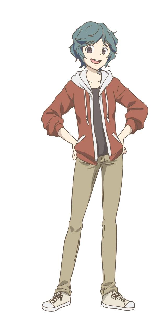 Un escenario de personajes de Mami Koizumi del próximo anime de TV Yakunara Mug Cup Mo.  Mami aparece como una adolescente delgada con el pelo corto de color verde azulado y una sonrisa entusiasta.  Lleva zapatillas, pantalones y una sudadera y posa con las manos en las caderas.