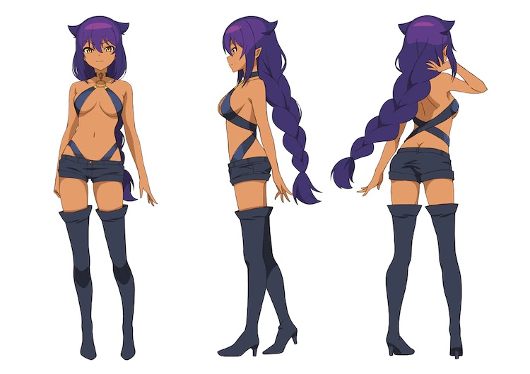 A character setting of Jahy in her adult demon lord form from the upcoming The Great Jahy Will Not Be Defeated! TV anime. Jahy appears as a shapely woman with tanned skin, amber eyes, and purple hair shaped in a braided ponytail and cat ear tufts. She wears a skimpy outfit of straps, a mini-shirt, and thigh length high heeled boots.