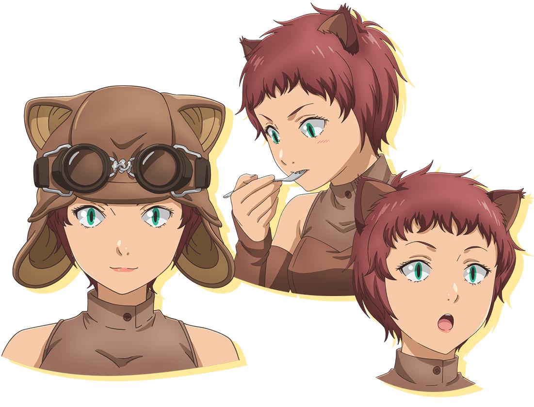 Un escenario de personajes de Hilda, una exploradora de gatos con un casco de cuero y gafas, de la próxima segunda temporada del anime Restaurant to Another World TV.