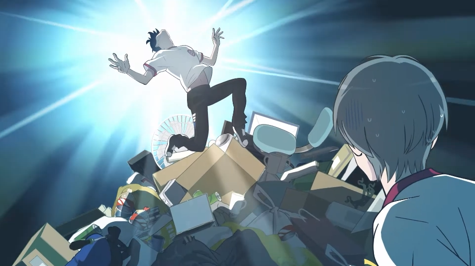 Shi Fen poses on a mountain of garbage while his classmate looks on with incredulity in a scene from the upcoming 4th season of the Ani ni Tsukeru Kusuri wa nai TV anime.