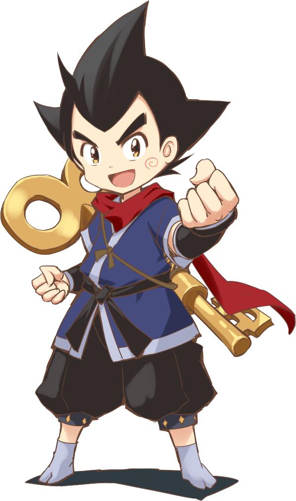 Un escenario de personajes de Nejiemon Banemaki, el héroe del próximo proyecto de anime 2D original de NINJAXIS.  Nejiemon aparece como un niño con una explosión de cabello negro puntiagudo y ojos color ámbar.  Viste un traje de ninja azul y negro con una bufanda roja y lleva una enorme llave de cuerda en la espalda.