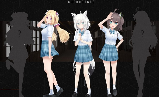 Hololive ERROR cast: Aki Rosenthal, Fubuki Shirakami, Matsuri Natsuiro, and two yet to be revealed