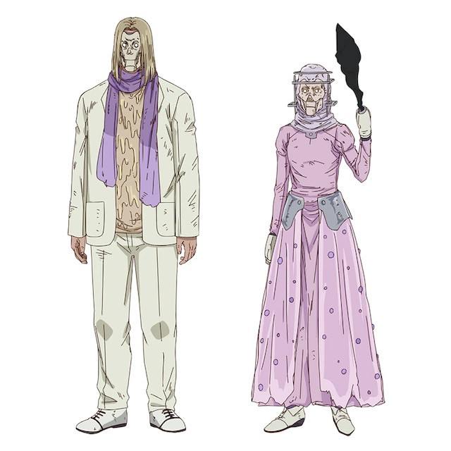 A character visual of Melts-Everything and Life-Granting Sorcerer, a pair of weirdos from the upcoming Dorohedoro TV anime.