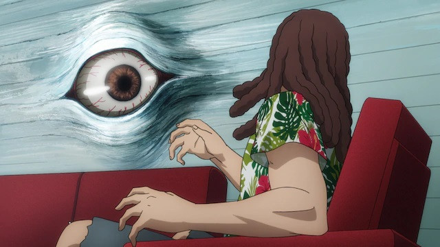 A victim suffers from mind-warping telepathic intrusion in a scene from the upcoming pet TV anime.