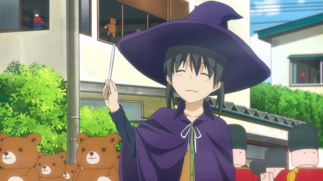 Chinatsu Kuramoto fantasizes about magically commanding an army of teddy bears and toy soldiers in a scene from the Flying Witch TV anime.