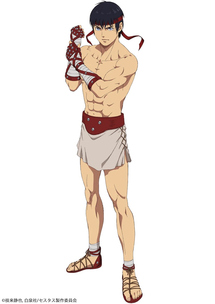 A character visual of Cestvs, a Roman slave gladiator from the upcoming Cestvs -The Roman Fighter- TV anime. Cestvs is wirey, well-muscled young man with dark hair and blue eyes who wears a read sweat band around his forehead, cestus-style and cloth wrappings on his hands, a short tunic waist cloth, and sandals. He tests the fit of his boxing gloves with a grim expression on his face.