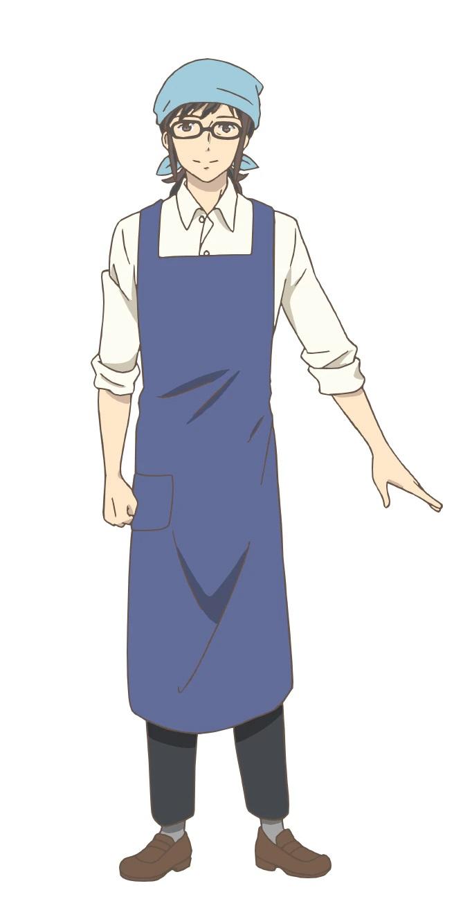 Un escenario de personajes de Tokishirou Toyakawa del próximo anime de TV Yakunara Mug Cup Mo.  Tokishirou aparece como un hombre de pelo largo de unos treinta y cinco años con gafas, un pañuelo en la cabeza y un delantal para proteger su ropa.