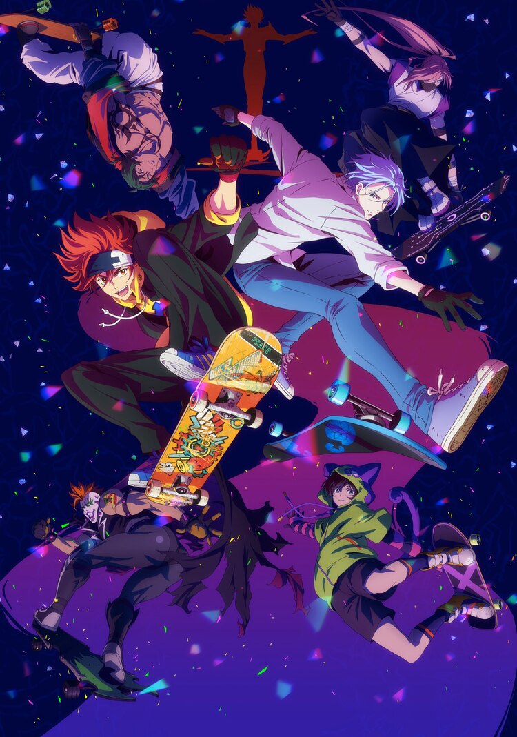 A new key visual for the upcoming original SK8 the Infinity TV anime, featuring the main cast shredding and performing tricks on their skateboards.