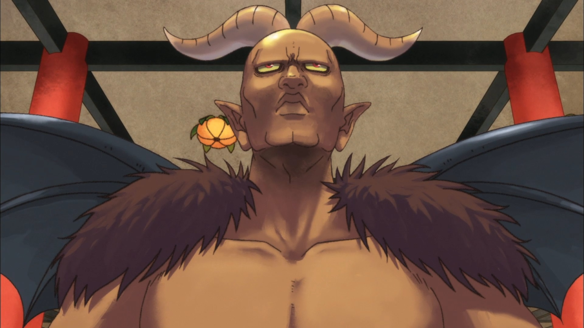 Satan, the ruler of European Hell, attempts to look regal and imposing while visiting Japanese hell in a scene from the Hozuki's Coolheadedness TV anime.