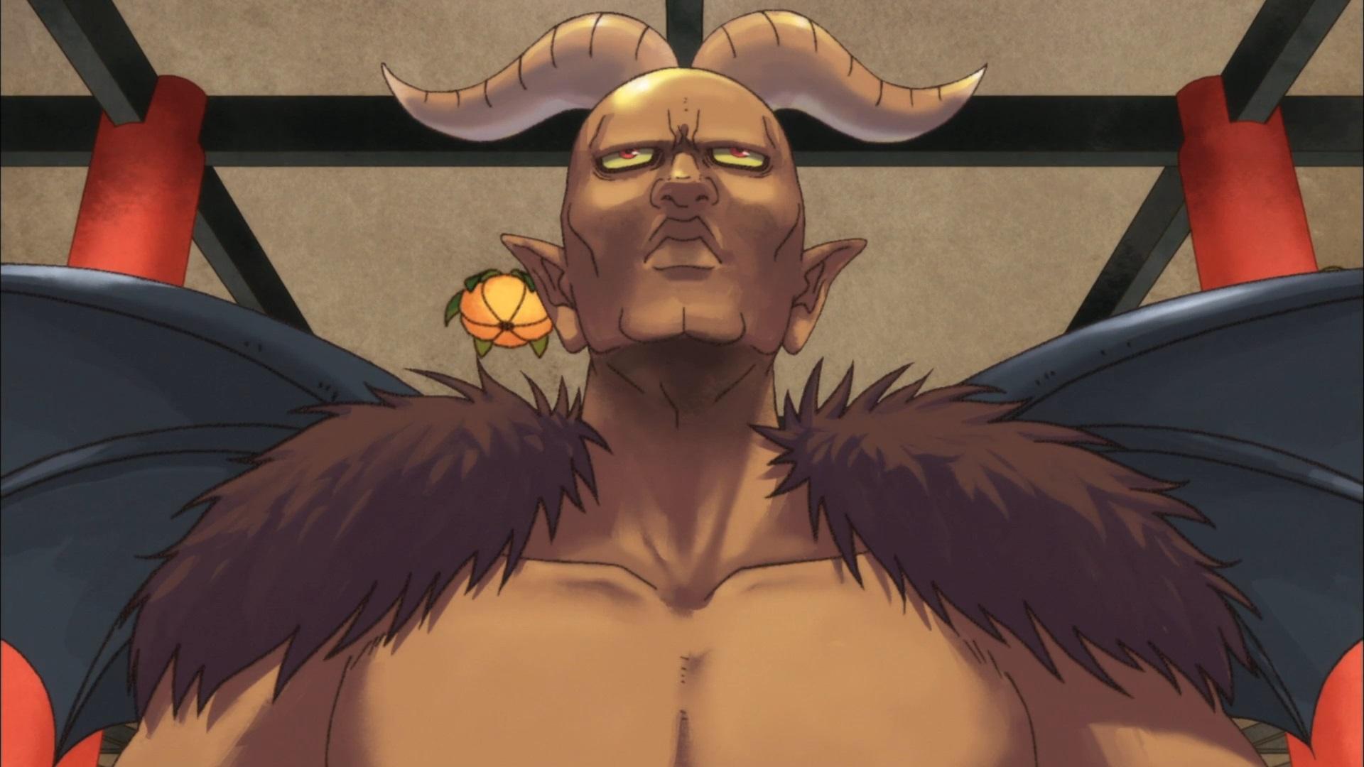 Satanás, el gobernante del infierno europeo, intenta lucir majestuoso e imponente mientras visita el infierno japonés en una escena del anime televisivo Coolheadedness de Hozuki.
