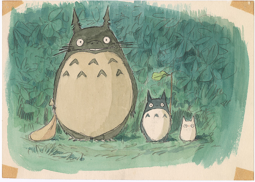 A character setting of Totoro and his two tiny forest sprite friends, as illustrated by Hayao Miyazaki, which will be on display at the Hayao Miyazaki art installation held at the Academy Museum of Motion Picture Arts in Los Angeles, California, beginning on September 30, 2021.