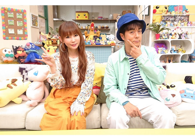 TV talent Shoko Nakagawa and composer Kenichi Maeyamada pose in a promotional picture for the Pokémon TV anime.