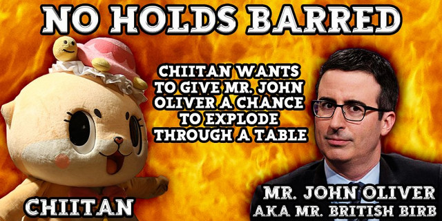 Chiitan faces off against John Oliver against a fiery background.