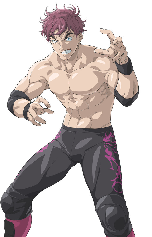 MAO, aka Macadamian Ogre, is a vicious looking heel wrestler with a snarling expression and purple hair.