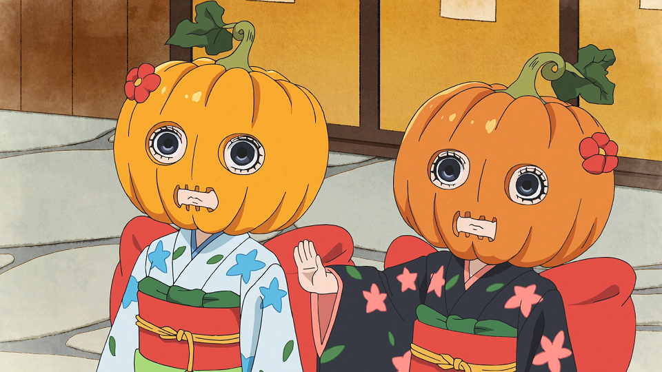 The Zashiki Warashi twins attempt to go trick-or-treating with Jack-o'-Lanterns for masks in a scene from the 2nd season of the Hozuki's Coolheadedness TV anime.