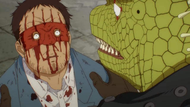 Caiman confronts a Sorcerer in a screen capture from the Dorohedoro TV anime.