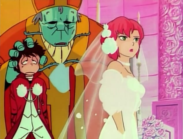 Ataru is being forced to marry Elle in a scene from Urusei Yatsura: Only You, the first theatrical anime film of the series.