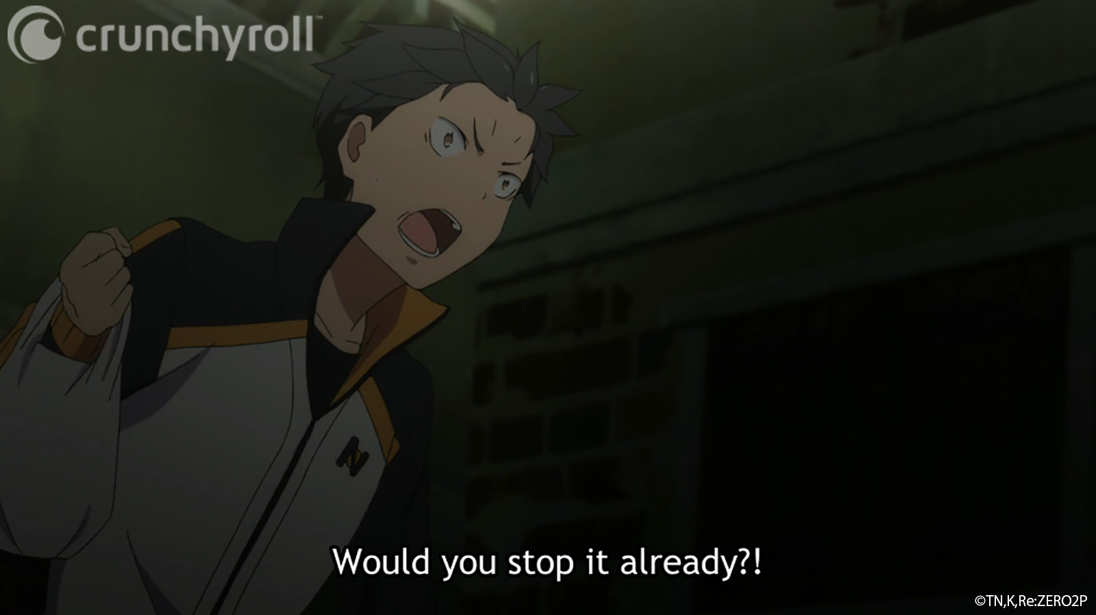 Natsuki Subaru vents his frustration after running into the same group of street hooligans after mutliple reincarnations in a scene from the Re:ZERO -Starting Life in Another World- TV anime.