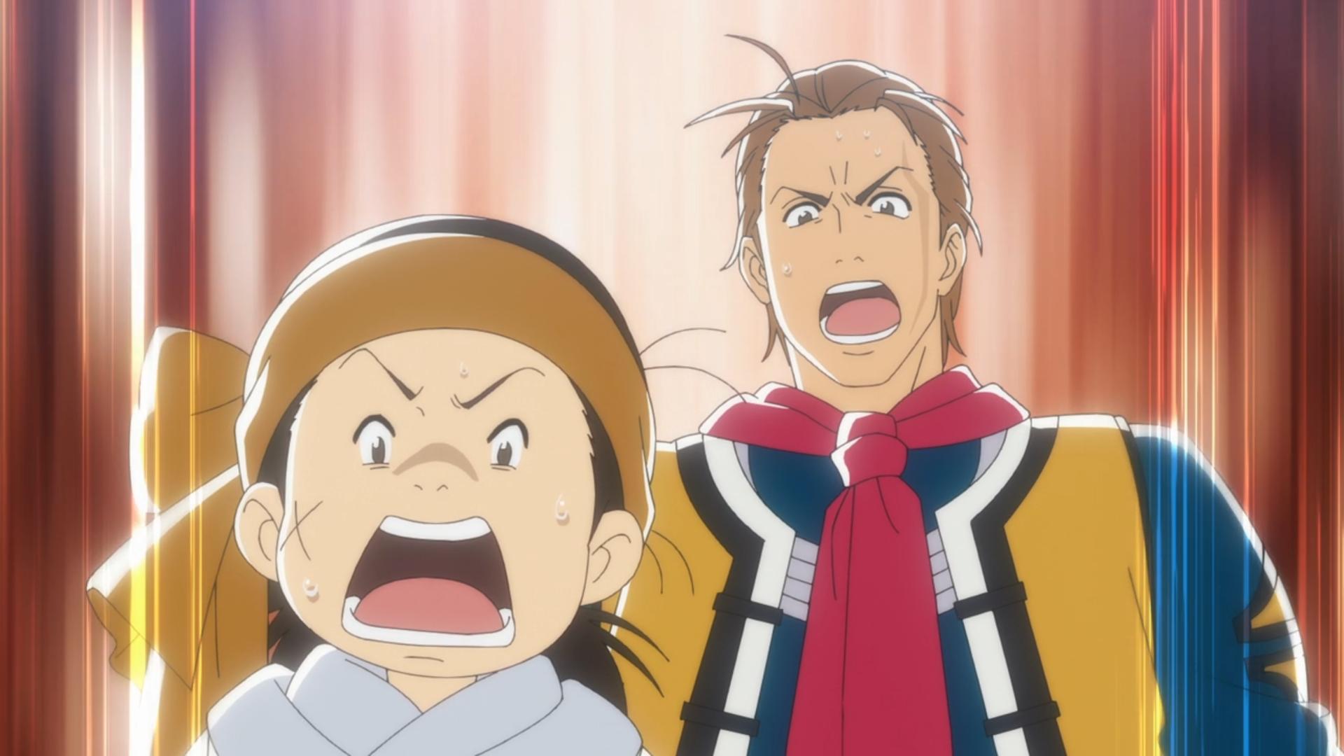 Shirou y Xie Lu están impactados por un desarrollo impresionante en el concurso de cocina con habilidades de cuchillo en una escena del anime de televisión True Cooking Master Boy 2019.