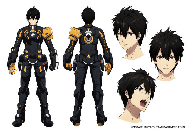 A character setting of Ash, the protagonist of the Phantasy Star Online II: Episode Oracle TV anime.