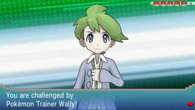 A screenshot of Wally challenging the player to a battle in Pokémon Omega Ruby and Alpha Sapphire