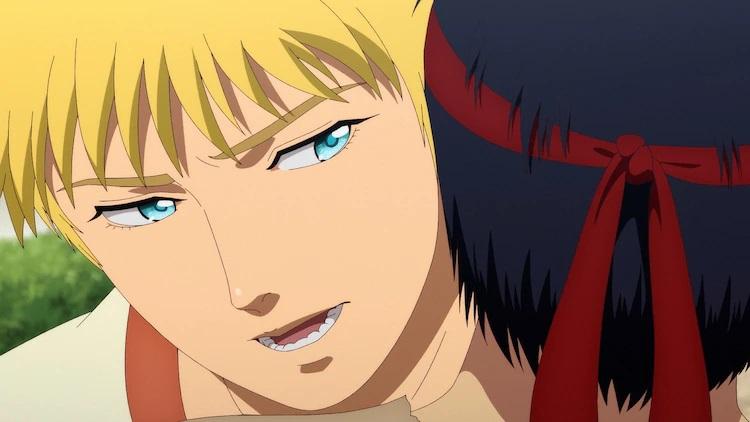 Nero abraza a Cestvs antes de golpear al gladiador esclavizado con un tiro de lucha libre en una escena del próximo anime de televisión Cestvs: The Roman Fighter.