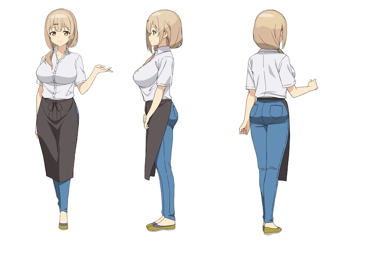 A character setting of Shop Manager from the upcoming The Great Jahy Will Not Be Defeated! TV anime. Shop Manager is a buxom woman with blonde hair in a side ponytail. She wears a dress shirt, jeans, and an apron.